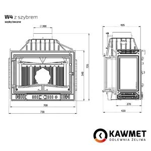 Камінна топка KAWMET W4 праве бокове скло (14.5 kW). Фото 8