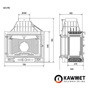 Каминная топка KAWMET W3 с правым боковым стеклом (16.7 kW). Фото 9