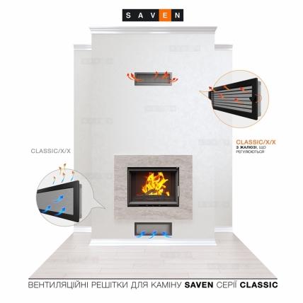 Вентиляционная решетка для камина SAVEN 17х17 белая с жалюзи. Фото 5