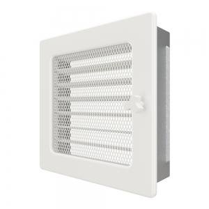 Вентиляционная решетка для камина SAVEN 17х17 белая с жалюзи. Фото 2
