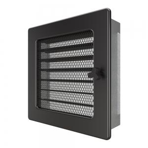Вентиляционная решетка для камина SAVEN 17х17 графитовая с жалюзи. Фото 2
