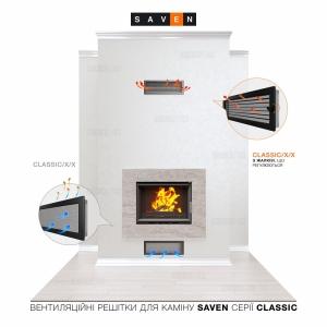 Вентиляційна решітка для каміна SAVEN 17х17 чорна з жалюзі. Фото 5