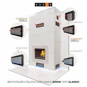 Вентиляційна решітка для каміна SAVEN 17х30 кремова з жалюзі. Фото 4