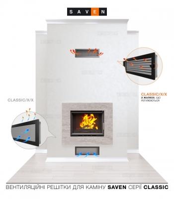 Вентиляційна решітка для каміна SAVEN 17х37 чорна з жалюзі. Фото 5