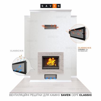 Вентиляционная решетка для камина SAVEN 17х49 кремовая с жалюзи. Фото 5