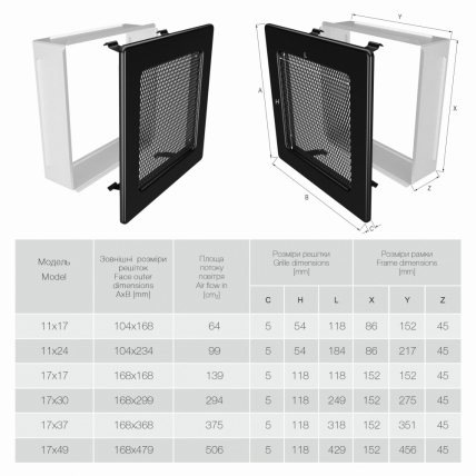 Вентиляционная решетка для камина SAVEN 17х30 черная. Фото 3