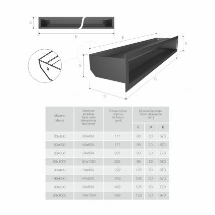 Вентиляционная решетка для камина SAVEN Loft 60х400 графитовая. Фото 3