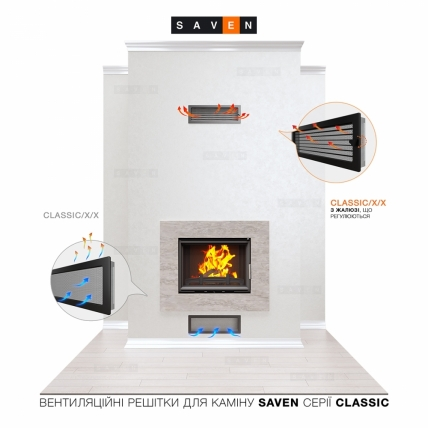 Вентиляційна решітка для каміна SAVEN 17х37 чорна. Фото 5