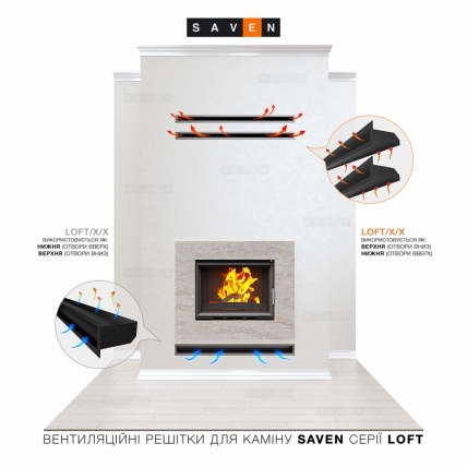 Вентиляционная решетка для камина SAVEN Loft 60х800 графитовая. Фото 5