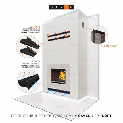 Вентиляційна решітка для каміна SAVEN Loft 60х800 чорна. Фото 4