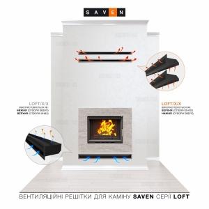 Вентиляционная решетка для камина SAVEN Loft 90х1000 чорная. Фото 5