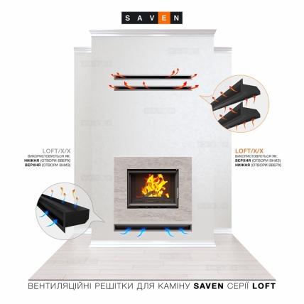 Вентиляционная решетка для камина SAVEN Loft 90х1000 графитовая. Фото 5