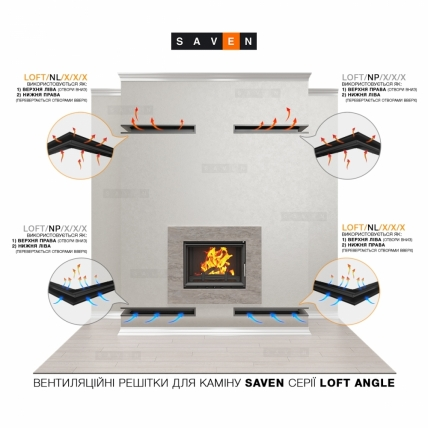 Вентиляционная решетка для камина угловая левая SAVEN Loft Angle 90х400х600 кремовая. Фото 4