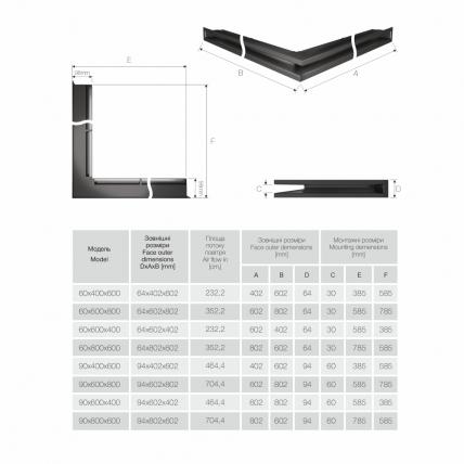 Вентиляционная решетка для камина угловая права SAVEN Loft Angle 60х800х600 черная. Фото 4