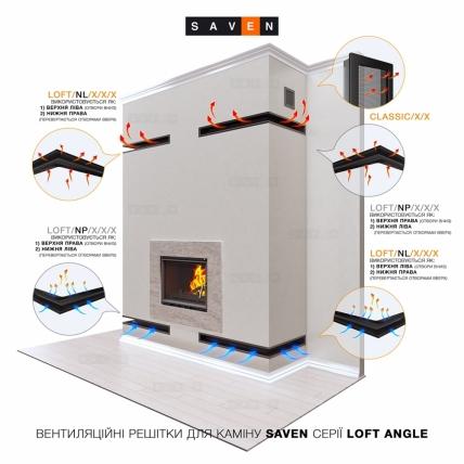 Вентиляційна решітка для каміна кутова права SAVEN Loft Angle 90х800х600 біла. Фото 5