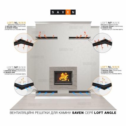 Вентиляционная решетка для камина угловая права SAVEN Loft Angle 90х800х600 черная. Фото 4