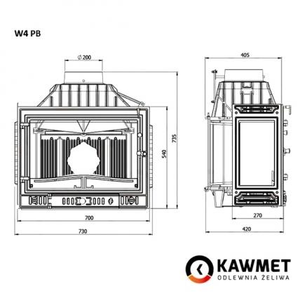 Камінна топка KAWMET W4 ліве бокове скло (14.5 kW). Фото 5